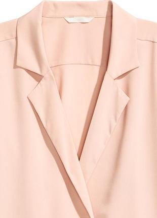 Блуза піджак / нюдовая блузка в бельевом пижамном стиле на запах тренд4 фото