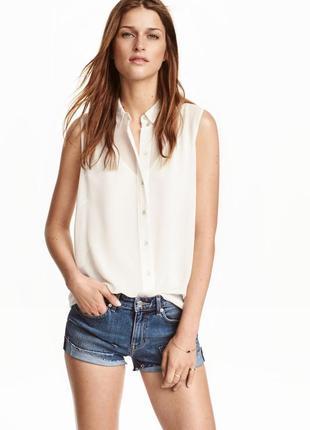 Блуза легкая рубашка без рукавов h&m!1 фото