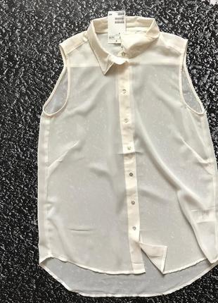 Блуза легкая рубашка без рукавов h&m!6 фото