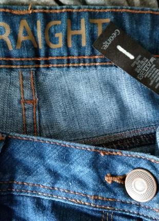 Р 14 / 48-50 актуальные синие джинсы штаны брюки прямые слим хлопок стрейчевые george5 фото