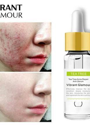 Серум для лица чайное дерево tea tree acne repair anti-serum vibrant glamour от воспалений7 фото