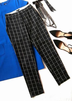 Стильные хлопковые брюки в клетку h&m, укороченные брюки1 фото