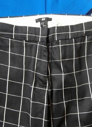 Стильные хлопковые брюки в клетку h&m, укороченные брюки2 фото