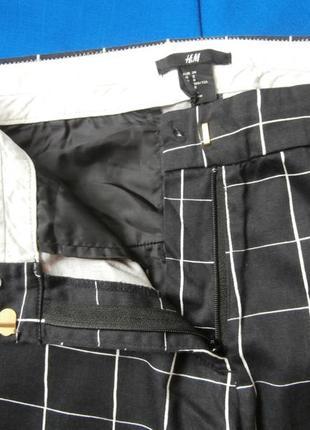Стильные хлопковые брюки в клетку h&m, укороченные брюки3 фото