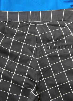 Стильные хлопковые брюки в клетку h&m, укороченные брюки4 фото