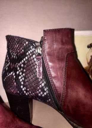 Ботинки ботильоны марсалового цвета со вставками под змеиную кожу7 фото