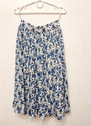 Міді спідниця плісе / плиссе плиссированная юбка в цветочек миди тренд2 фото