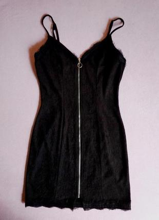 Фактурное платье на молнии с кружевом - 20% скидка!2 фото