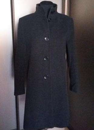 Пальто с воротником стойкой из шерсти и кашемира3 фото