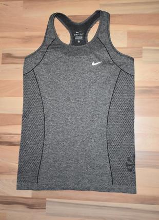 Бесшовная спортивная майка nike dry fit оригинал  серый меланж1 фото