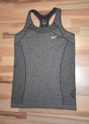 Бесшовная спортивная майка nike dry fit оригинал  серый меланж2 фото