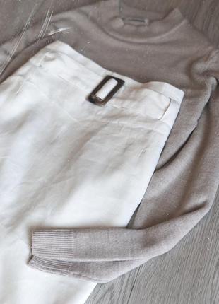 Новая юбка с натуральной ткани с ремнём поясом миди бежевая1 фото