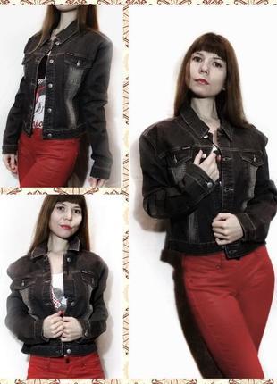 Джинсовая куртка черная жакет джинсовый короткий летний1 фото