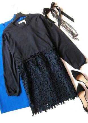 Роскошное платье-свитшот с кружевом, платье гипюр1 фото