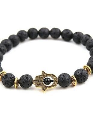 Стильный браслет с лавой черного цвета с шармом рука с глазом6 фото