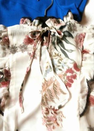 Нежная шифоновая блуза zara в цветочный принт, блуза с оборками, рюшами5 фото