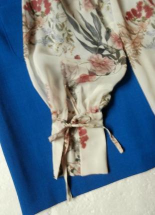 Нежная шифоновая блуза zara в цветочный принт, блуза с оборками, рюшами7 фото