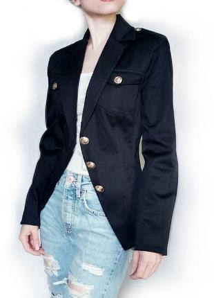 Синий пиджак приталенный блейзер с погонами хлопковый 34/363 фото