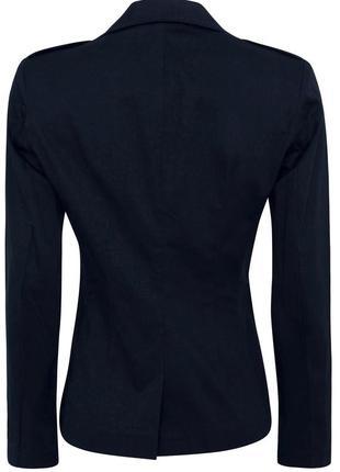 Синий пиджак приталенный блейзер с погонами хлопковый 34/369 фото