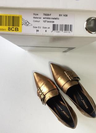 Новые кожаные туфли bronx кожа натуральная золотые тренд 20191 фото