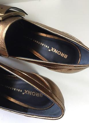 Новые кожаные туфли bronx кожа натуральная золотые тренд 20193 фото