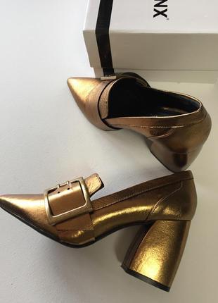 Новые кожаные туфли bronx кожа натуральная золотые тренд 20195 фото