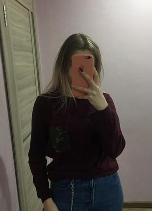 Свитшот худи хаки с карманом вставка военный оттенок кармашек1 фото