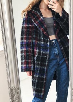 Роскошное шерстянное  пальто в красивую клетку от elegance paris1 фото