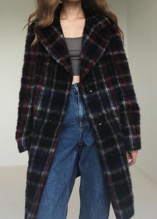 Роскошное шерстянное  пальто в красивую клетку от elegance paris2 фото