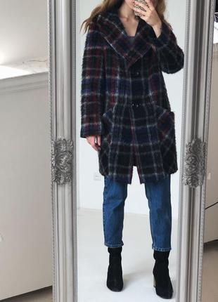 Роскошное шерстянное  пальто в красивую клетку от elegance paris5 фото