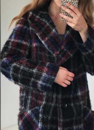 Роскошное шерстянное  пальто в красивую клетку от elegance paris7 фото