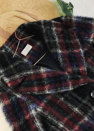 Роскошное шерстянное  пальто в красивую клетку от elegance paris10 фото