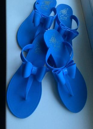 Вьетнамки голубые шлепанцы сланцы резиновые силиконовые5 фото