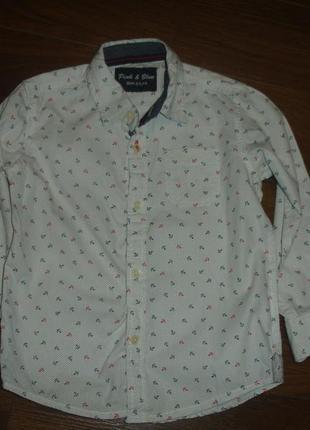 Фирменная нарядная рубашка мальчику 2-3 лет хлопок идеал с якорьками