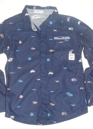 Фирменная плотная крутая рубашка мальчику 2-3 лет хлопок идеал