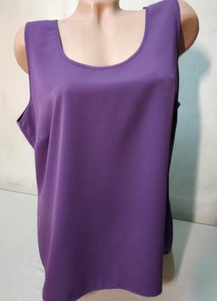 Блуза фиолетовая без рукавов большой размер