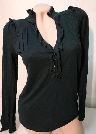 Элегантная трикотажная блуза черная кофточка с вышивкой