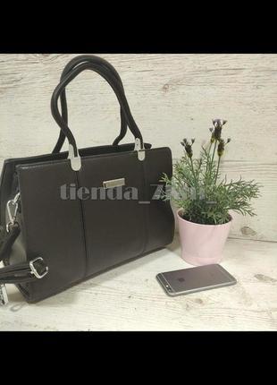 Женская офисная сумка с длинной ручкой f9952-618 коричневая