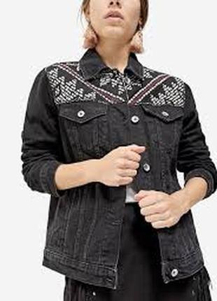 Вышитая джинсовая куртка/пиджак,жакет stradivarius