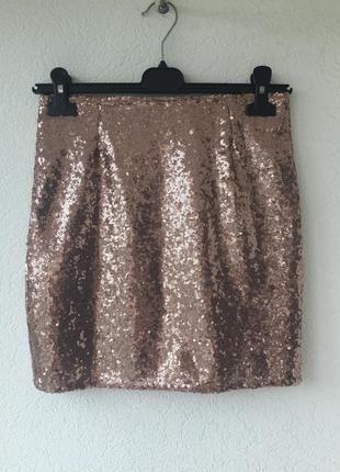Мини юбка в пайетки мерцающая для диско! высокая талия