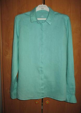 Красивая яркая льняная рубашка, натуральная блуза, 12 размер