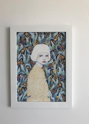 Картина  для декора яркая иллюстрация портрет девушки с узорами