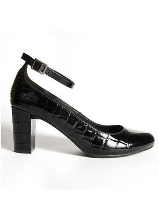 Черные туфли на устойчивом каблуке, лакированные туфли с круглым носком