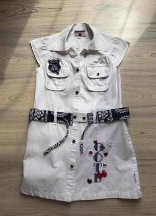 Белое джинсовое платье wojcik с поясом