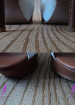 Босоножки grado кожаные высоком каблуке белые коричневые кожа удобные2