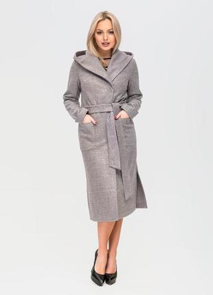 Скидка демисезонное длинное пальто без подкладки с капюшоном серое, пудровое, бежевое