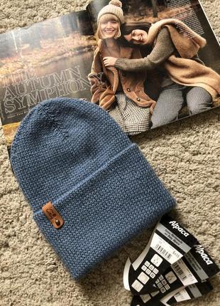 Шерстяная двойная шапка в цвете джинс hand made