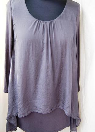 Блуза кофта шелк вискоза длинные рукава сливовый пастельный цвет офис