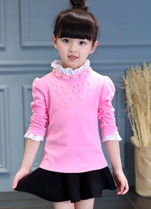 Нарядная розовая блузка с бусинами на 7 лет ( рост 122-128 см)