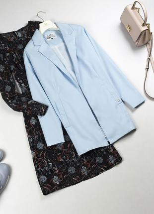 Стильный длинный жакет без застежки голубой пиджак оверсайз тренч baby blue xs s m